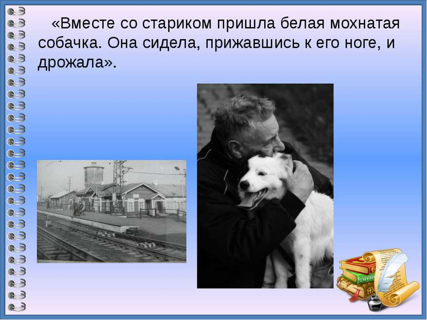 «Вместе со стариком пришла белая мохнатая собачка. Она сидела, прижавшись к е...