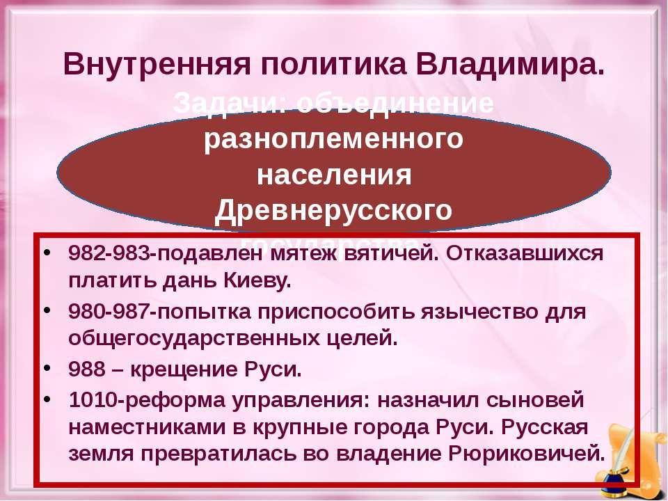 Внутренняя политика Владимира. Задачи: объединение разноплеменного населения ...