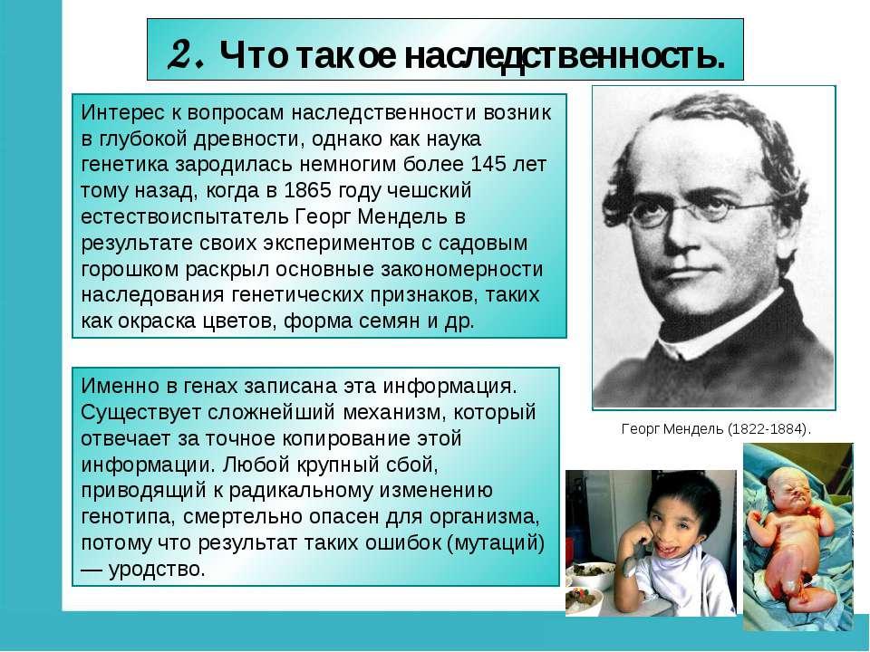 2. Что такое наследственность. Георг Мендель (1822-1884). Интерес к вопросам ...