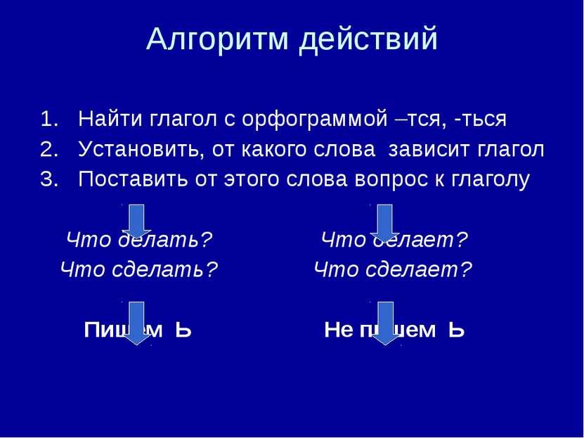 Алгоритм действий 1. Найти глагол с орфограммой –тся, -ться 2. Установить, от...