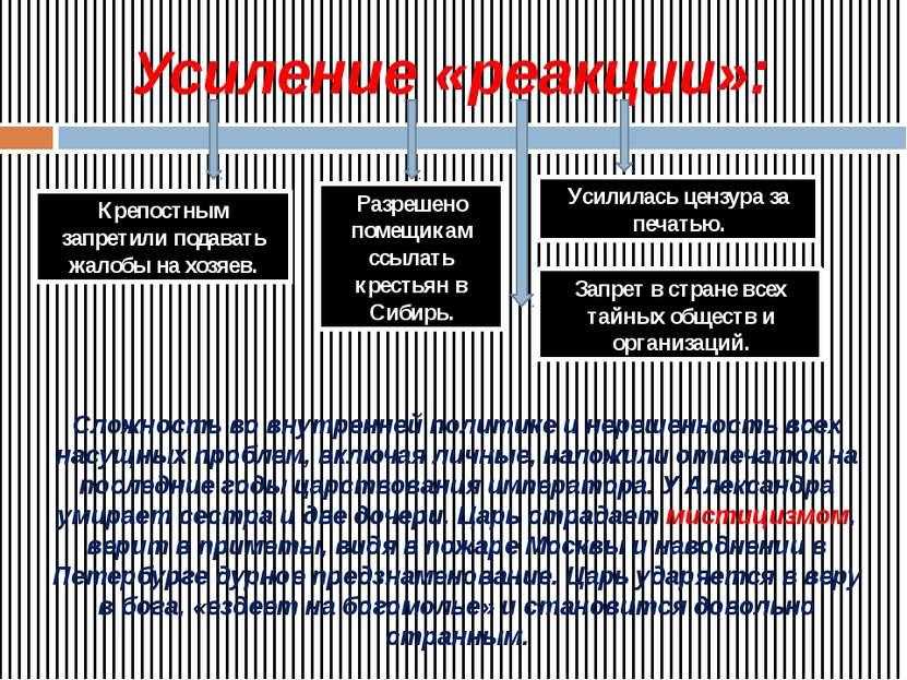 Усиление «реакции»: Разрешено помещикам ссылать крестьян в Сибирь. Крепостным...