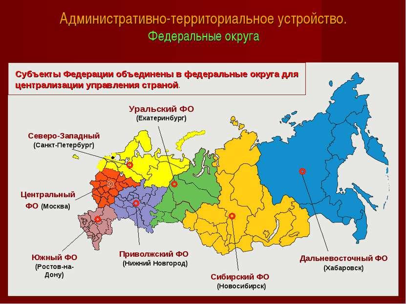 Административно-территориальное устройство. Федеральные округа Уральский ФО (...