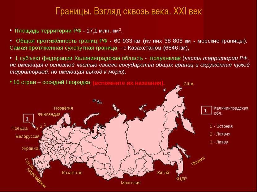 Границы. Взгляд сквозь века. XXI век Площадь территории РФ - 17,1 млн. км2. О...