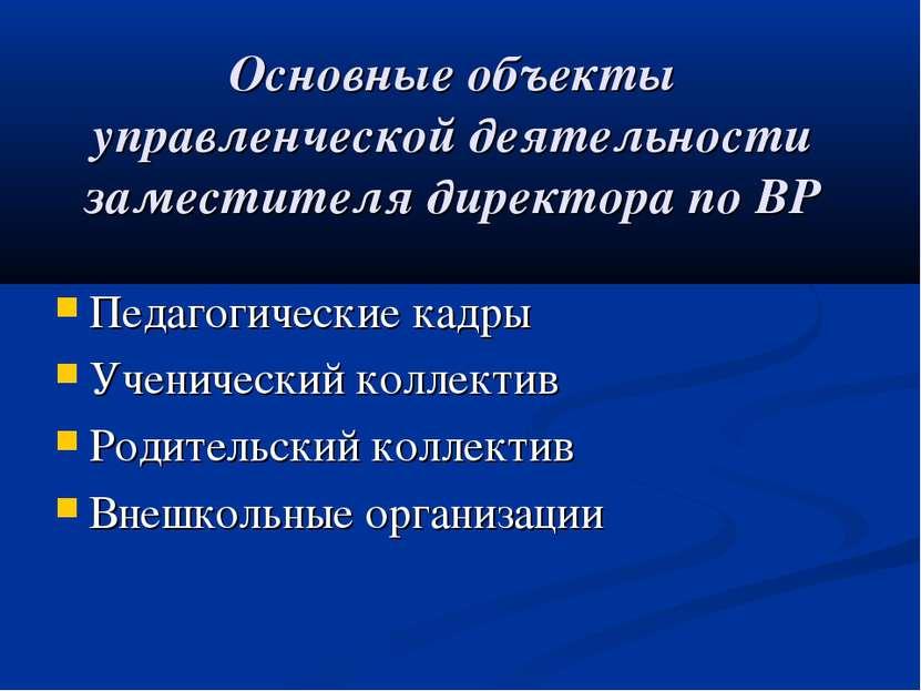 Основные объекты управленческой деятельности заместителя директора по ВР Педа...