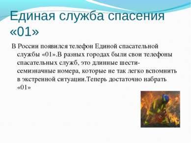 Единая служба спасения «01» В России появился телефон Единой спасательной слу...