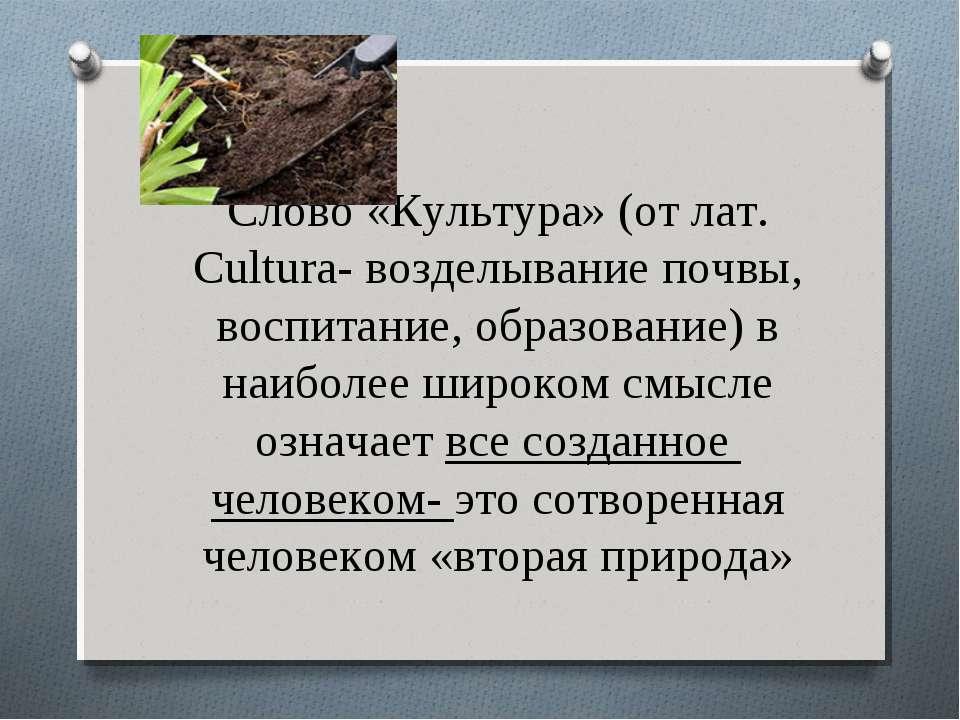Слово «Культура» (от лат. Cultura- возделывание почвы, воспитание, образовани...