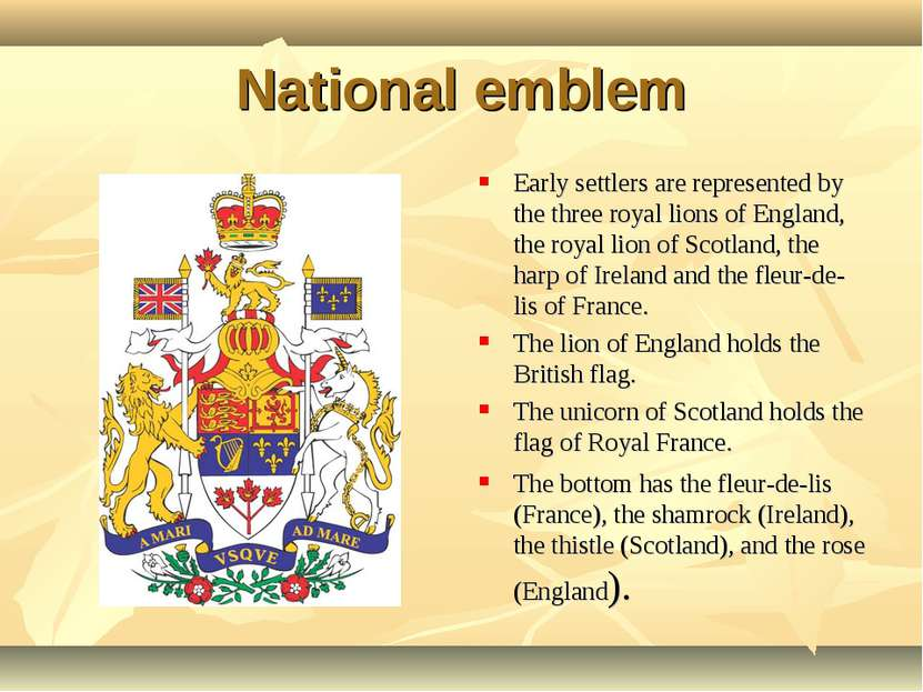 National emblem Early settlers are represented by the three royal lions of En...