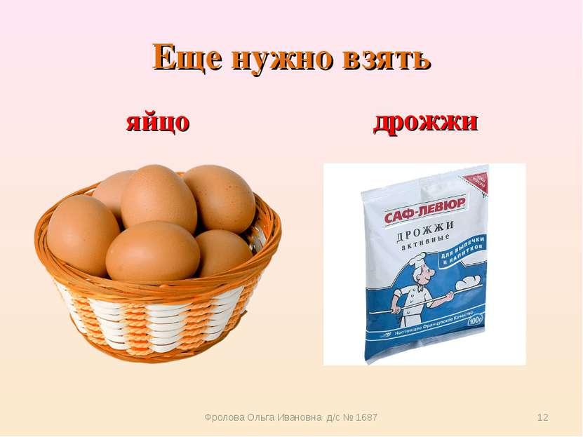 Еще нужно взять яйцо дрожжи Фролова Ольга Ивановна д/с № 1687 * Фролова Ольга...