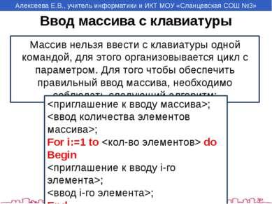 Ввод массива с клавиатуры Массив нельзя ввести с клавиатуры одной командой, д...