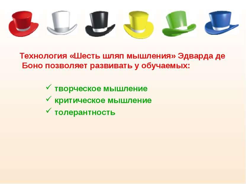 Технология «Шесть шляп мышления» Эдварда де Боно позволяет развивать у обучае...