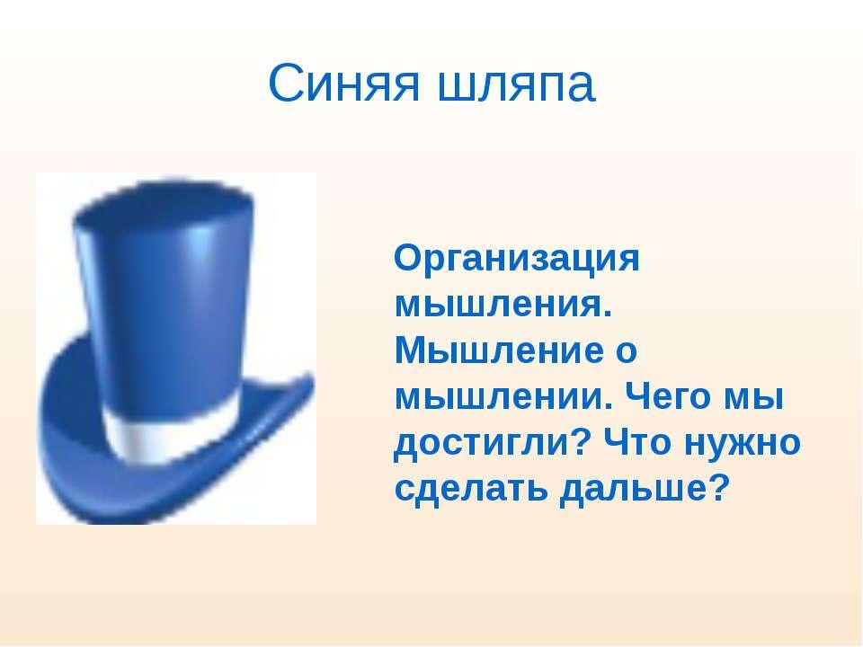 Синяя шляпа Организация мышления. Мышление о мышлении. Чего мы достигли? Что ...
