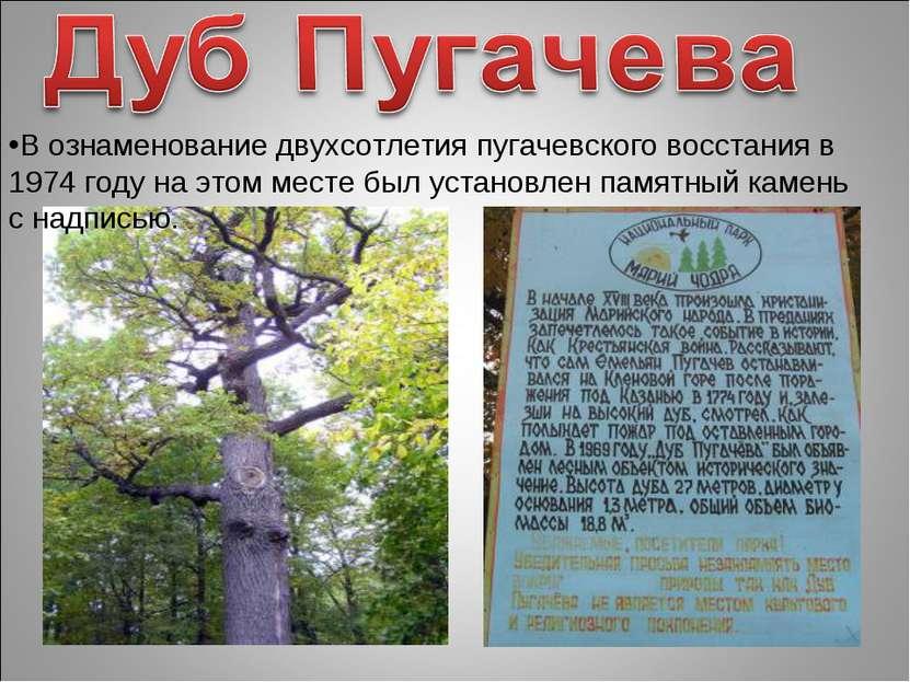 В ознаменование двухсотлетия пугачевского восстания в 1974 году на этом месте...