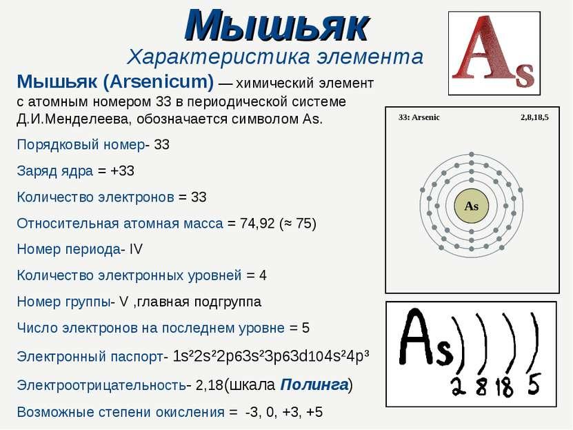 Мышьяк Характеристика элемента Мышьяк (Arsenicum) — химический элемент с атом...