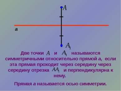 а Две точки и называются симметричными относительно прямой а, если эта прямая...