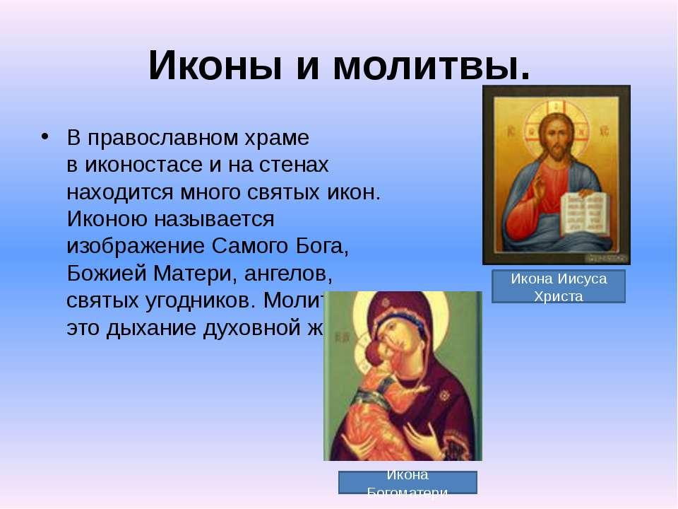 Иконы имолитвы. Вправославном храме виконостасе инастенах находится мног...