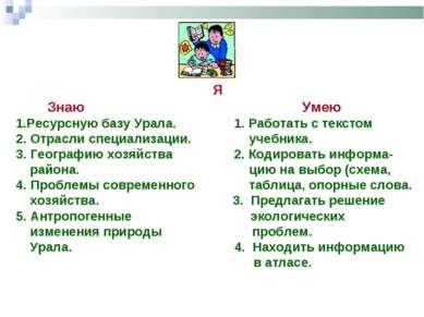 Я Знаю Умею 1.Ресурсную базу Урала. 1. Работать с текстом 2. Отрасли специали...