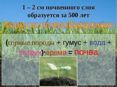 1 – 2 см почвенного слоя образуется за 500 лет (горные породы + гумус + вода ...