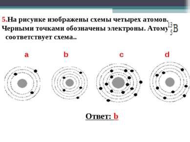 5.На рисунке изображены схемы четырех атомов. Черными точками обозначены элек...