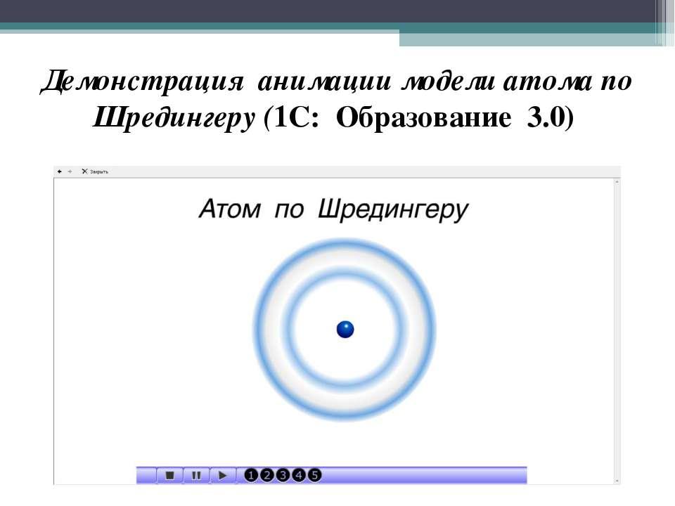 Демонстрация анимации модели атома по Шредингеру (1С: Образование 3.0)
