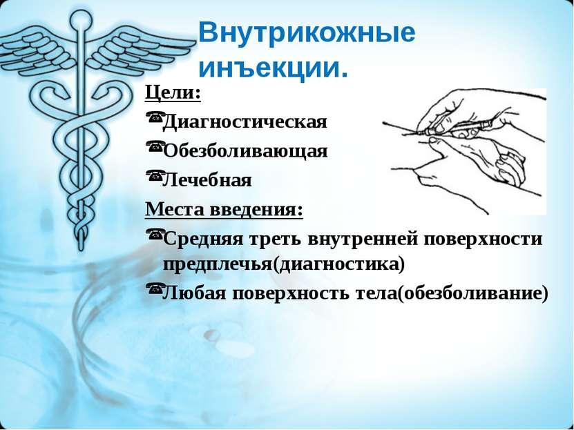 Внутрикожные инъекции. Цели: Диагностическая Обезболивающая Лечебная Места вв...