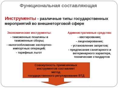 Функциональная составляющая Инструменты - различные типы государственных меро...