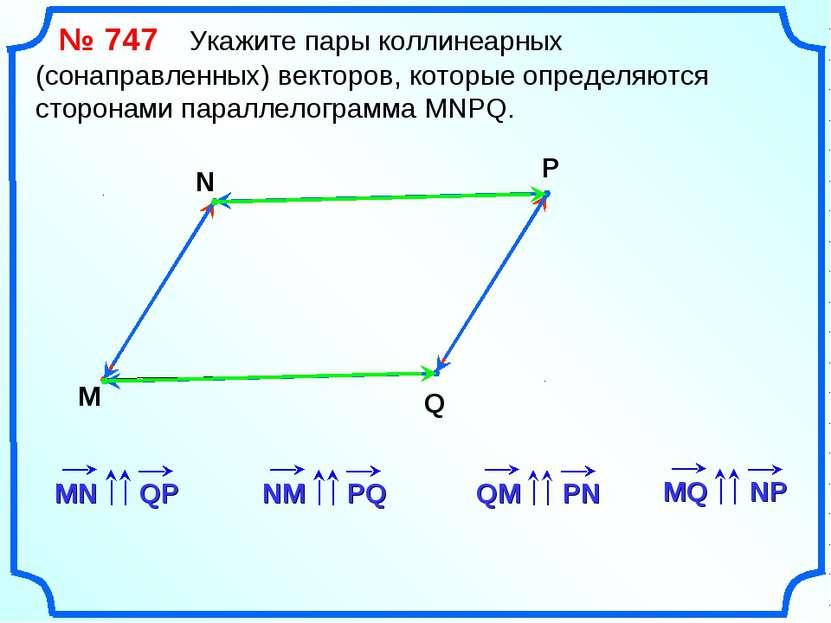 № 747 Укажите пары коллинеарных (сонаправленных) векторов, которые определяют...