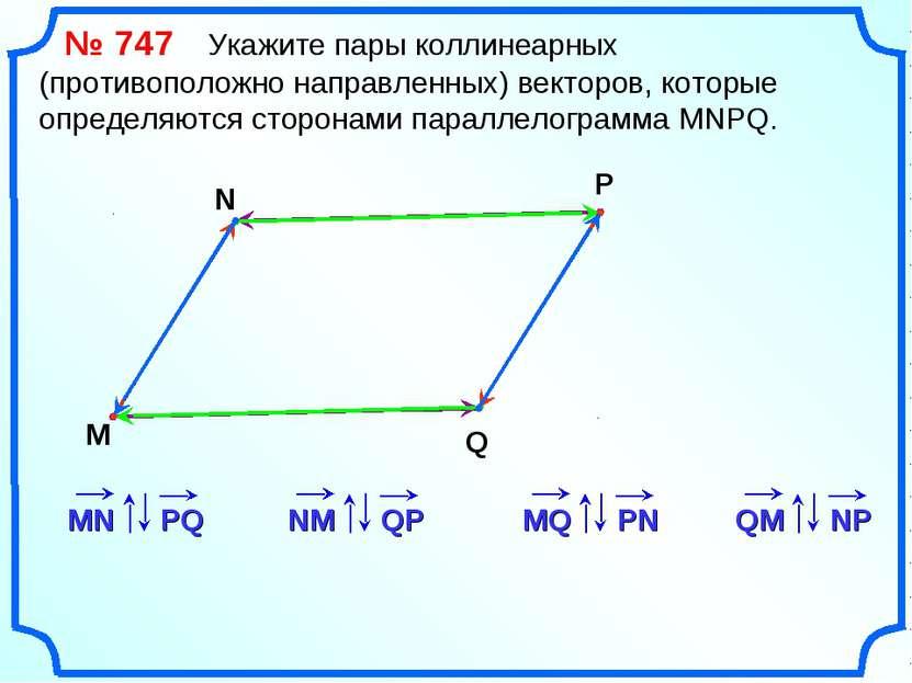 № 747 Укажите пары коллинеарных (противоположно направленных) векторов, котор...
