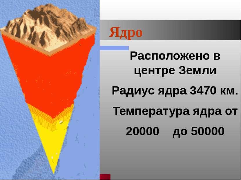 Ишмуратова Лилия Маликовна Ядро Расположено в центре Земли Радиус ядра 3470 к...
