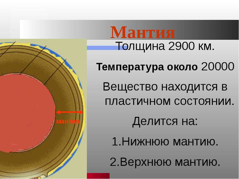 Ишмуратова Лилия Маликовна Мантия Толщина 2900 км. Температура около 20000 Ве...