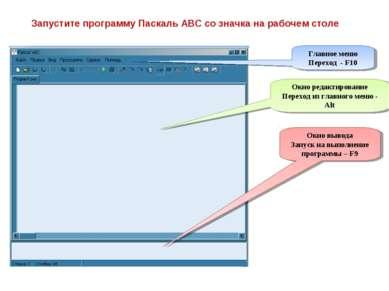 Запустите программу Паскаль АВС со значка на рабочем столе Главное меню Перех...