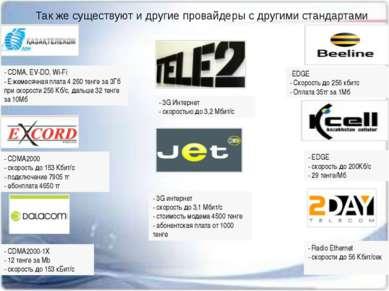 Так же существуют и другие провайдеры с другими стандартами - CDMA2000-1Х - 1...