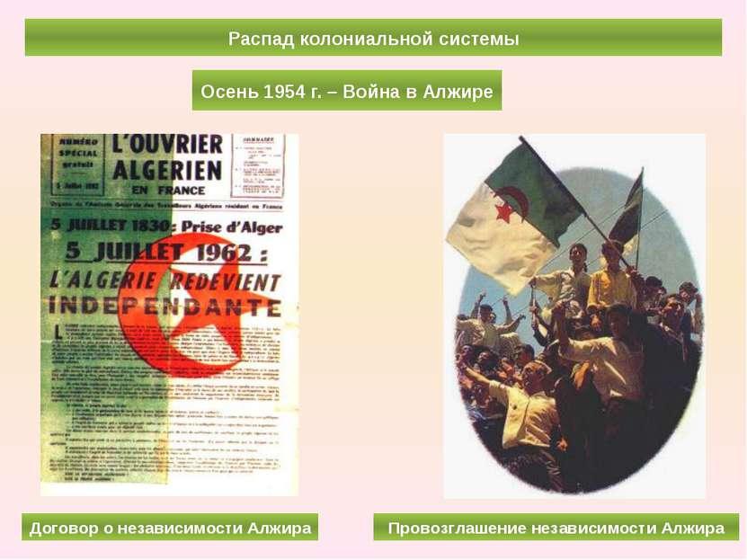 Распад колониальной системы Осень 1954 г. – Война в Алжире Договор о независи...
