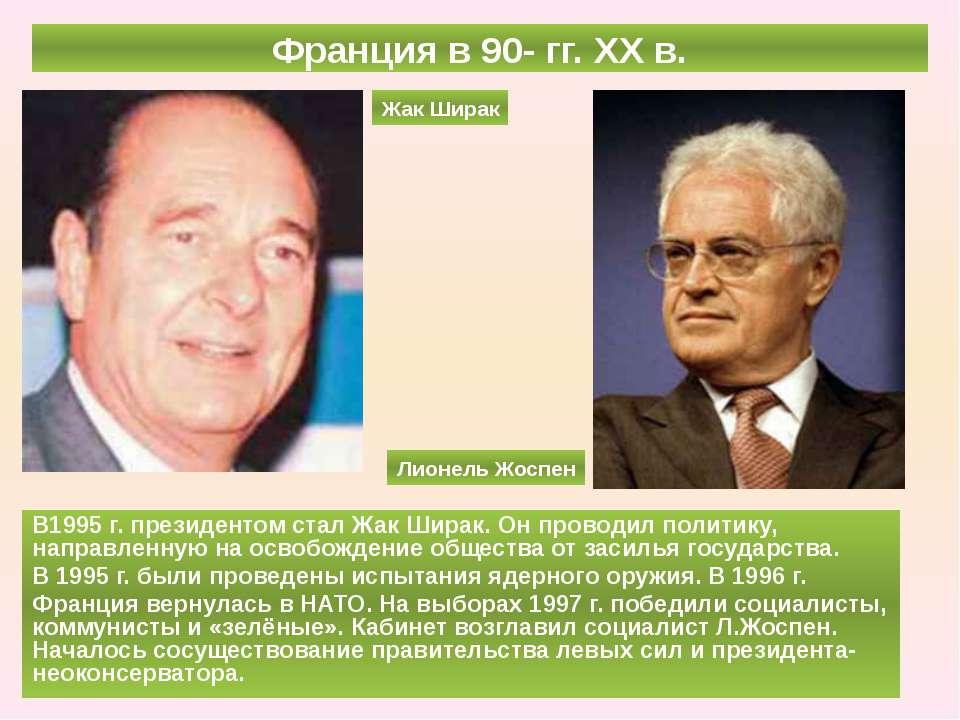 Франция в 90- гг. ХХ в. В1995 г. президентом стал Жак Ширак. Он проводил поли...