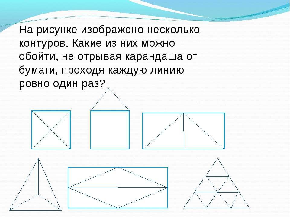 На рисунке изображено несколько контуров. Какие из них можно обойти, не отрыв...