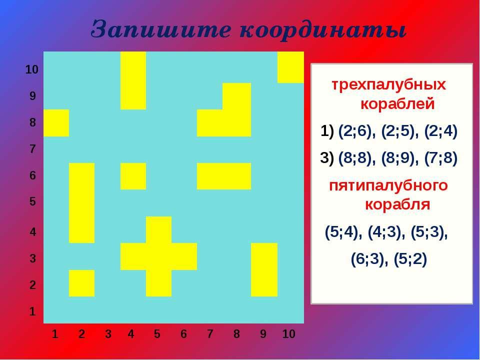 10 9 8 7 6 5 4 3 2 1 1 2 3 4 5 6 7 8 9 10 трехпалубных кораблей (2;6), (2;5),...