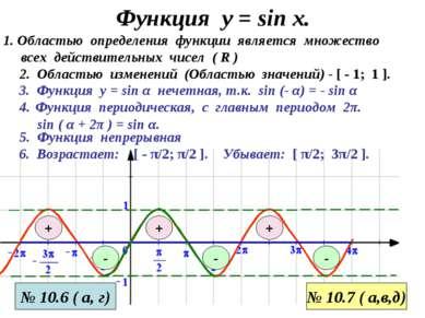 Функция у = sin x. 3. Функция у = sin α нечетная, т.к. sin (- α) = - sin α 1....