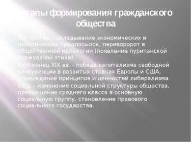 Этапы формирования гражданского общества XVI -XVII вв. - складывание экономич...