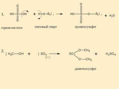 серная кислота этиловый спирт пропилсульфат 1. 2. диметилсулфат