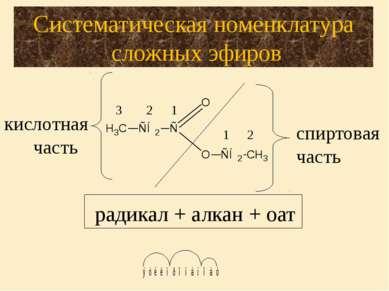 кислотная часть 1 2 1 2 3 спиртовая часть Систематическая номенклатура сложны...