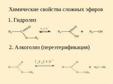 Химические свойства сложных эфиров 1. Гидролиз 2. Алкоголиз (переэтерификация)