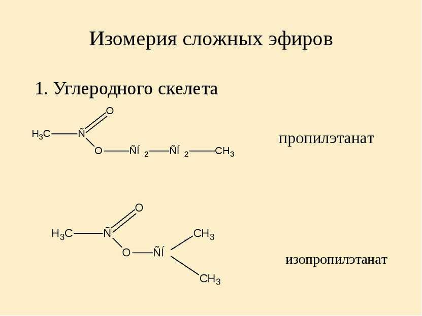 Изомерия сложных эфиров 1. Углеродного скелета пропилэтанат изопропилэтанат