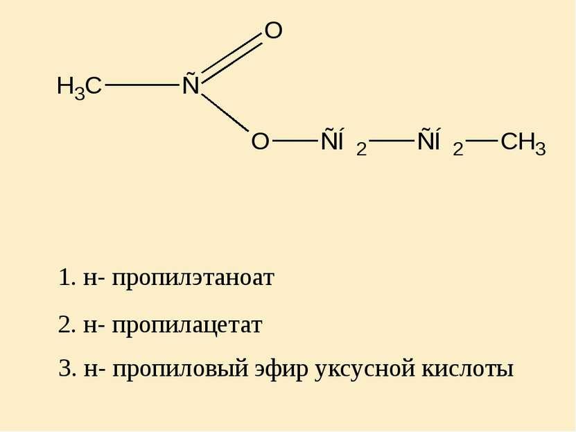 2. н- пропилацетат 1. н- пропилэтаноат 3. н- пропиловый эфир уксусной кислоты