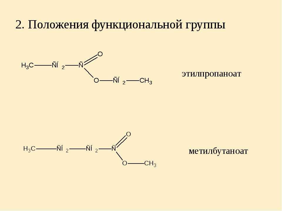 2. Положения функциональной группы этилпропаноат метилбутаноат