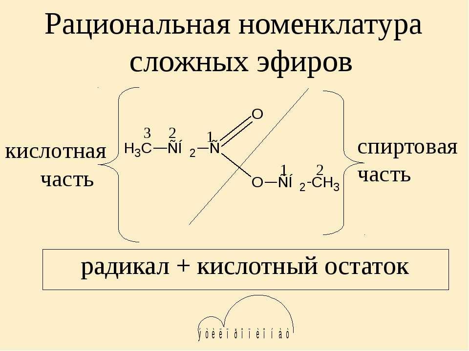 Рациональная номенклатура сложных эфиров 1 2 1 2 3 кислотная часть спиртовая ...