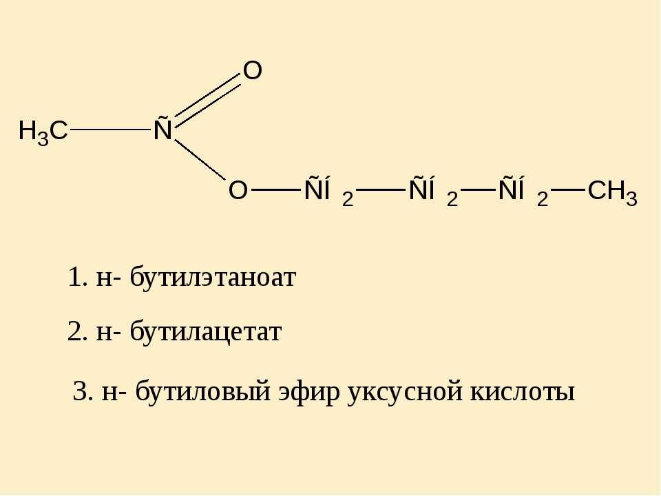 2. н- бутилацетат 1. н- бутилэтаноат 3. н- бутиловый эфир уксусной кислоты