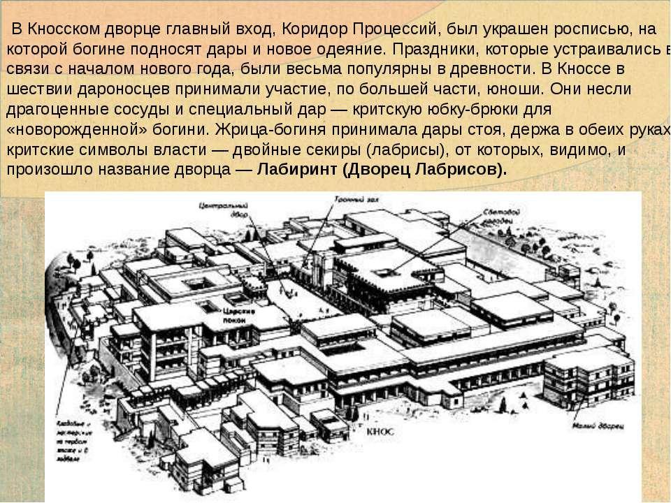 В Кносском дворце главный вход, Коридор Процессий, был украшен росписью, на к...