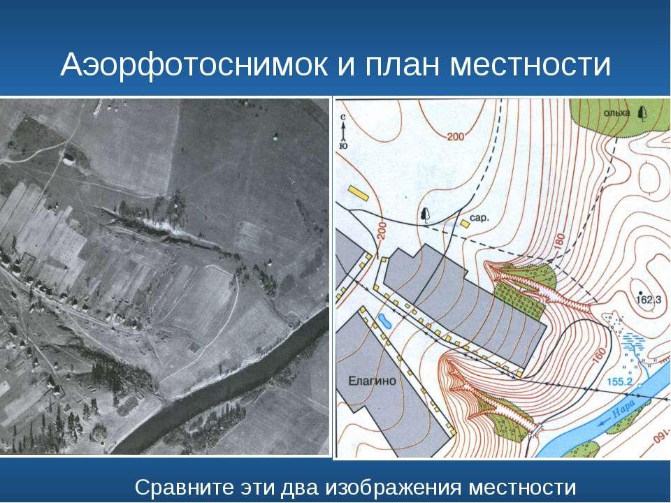 Аэорфотоснимок и план местности Сравните эти два изображения местности