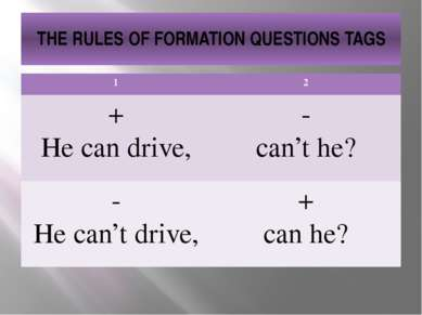THE RULES OF FORMATION QUESTIONS TAGS 1 2 + He can drive, - can't he? - He ca...