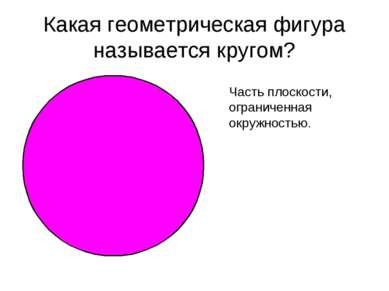 Какая геометрическая фигура называется кругом? Часть плоскости, ограниченная ...