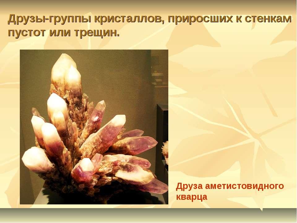 Друзы-группы кристаллов, приросших к стенкам пустот или трещин. Друза аметист...